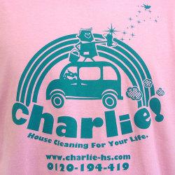charlie!Tシャツライトピンクフロントプリント