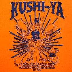 KUSHI-YATシャツオレンジバックプリント